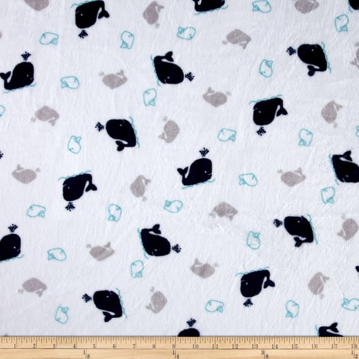 Shannon Minky Cuddle Whales Navy