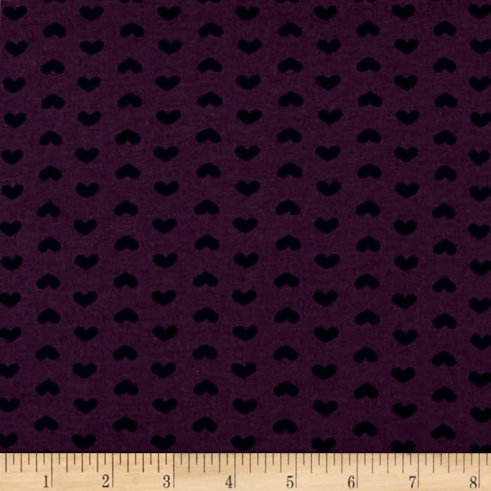 T-Shirt Jersey Knit Ditzy Small Hearts Plum