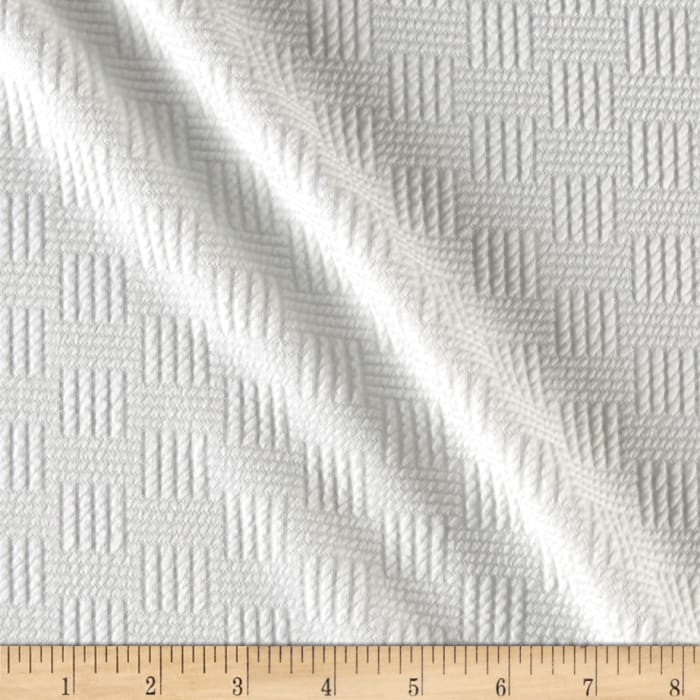 Quilted Liverpool Double Knit Plaid Weave Off White