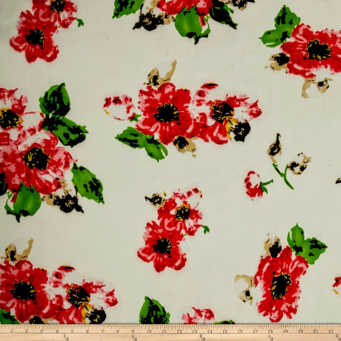 Stretch Poly Twill Bohemian Floral Red/Black