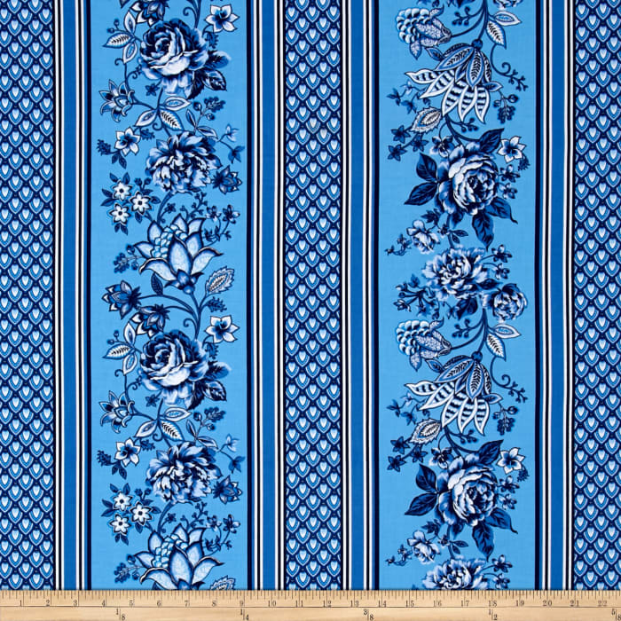 Floral Repeating Stripe Blue
