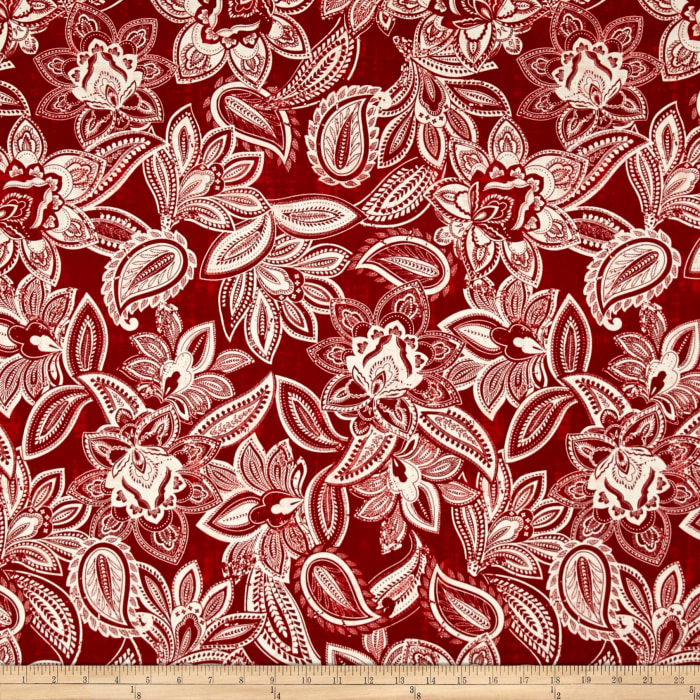 Bella Casa Floral Paisley Dark Red/White