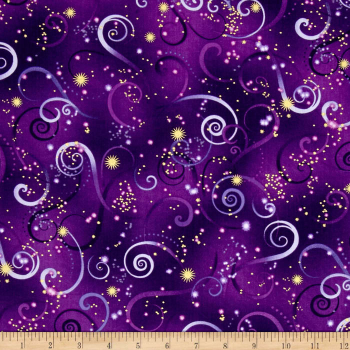 Kanvas dance of the dragonfly metallic swirling sky deep for Purple baby fabric