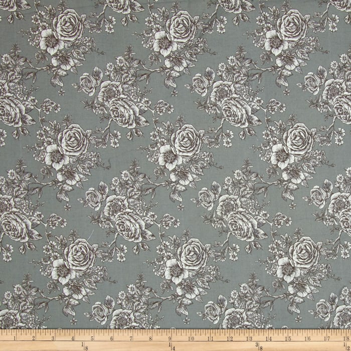 "Rose Toile 108"" Wide Back Grey"