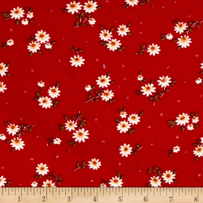 Corduroy Ivory/Red Flowers