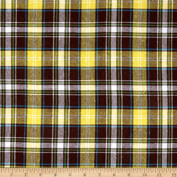 Yarn Dyed Flannel Plaid Yellow/Brown/Cream
