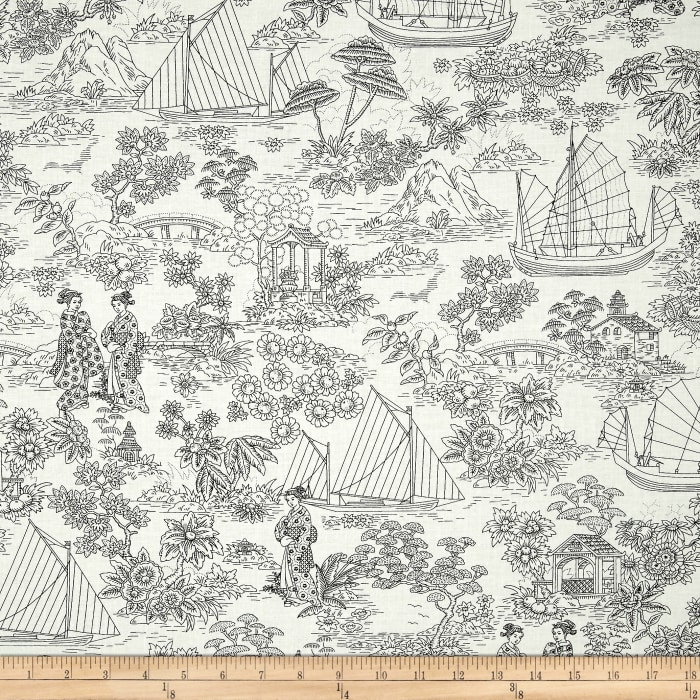 Timeless Treasures Zen Oasis Geisha Scenic Toile Cream