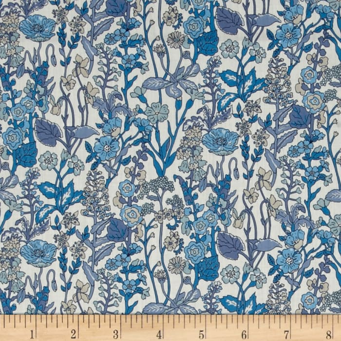 Liberty Fabrics Flowers Lawn White/Blue