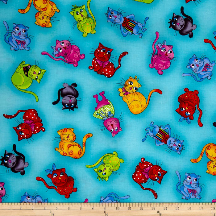 Loralie Designs Cool Cats Tossed Cool Cats Turquiose