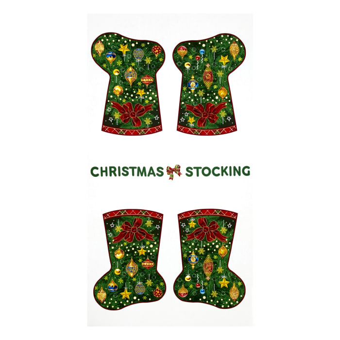 "Season's Greetings Christmas Stockings 23.5"" Panel Multi"