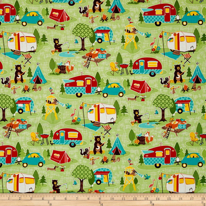 Riley blake road trip main green discount designer for Train themed fabric