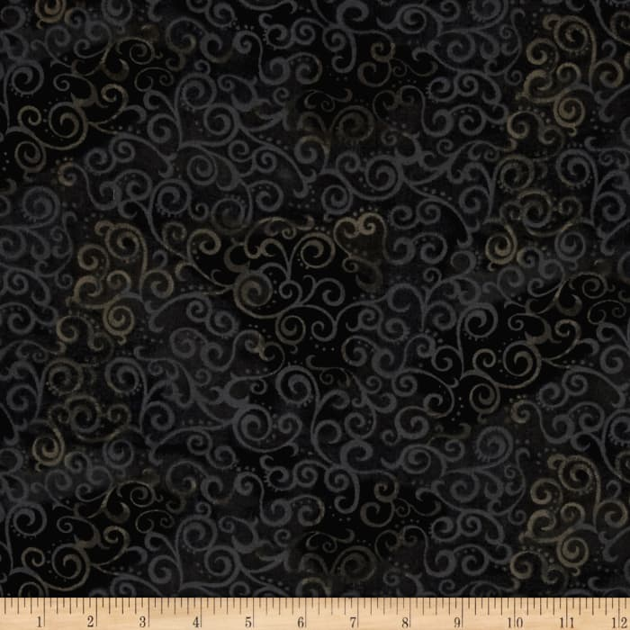"Quilting Treasures 108"" Wide Quilt Back Ombre Scroll Black"
