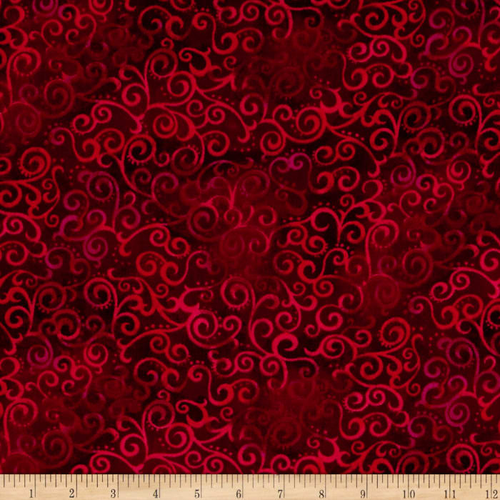 """Quilting Treasures 108"""" Wide Quilt Back Ombre Scroll Ruby"""