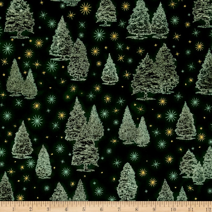 Kaufman Winter Grandeur Metallic Trees Evergreen