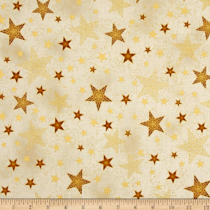 Kaufman Winter Grandeur Metallic Stars Gold