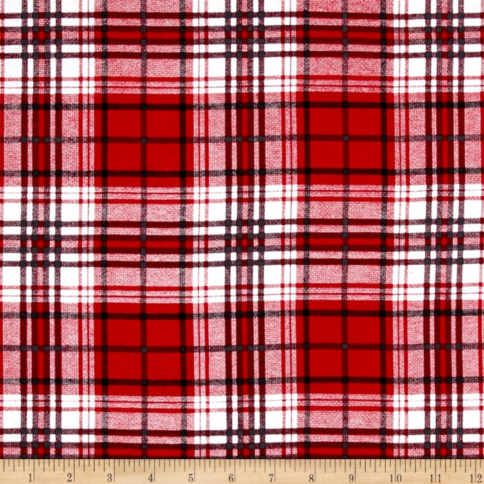 T-Shirt Jersey Knit Plaid Red /White