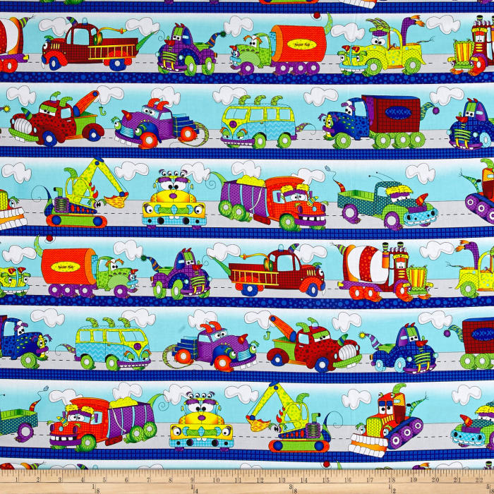 Travel and transportation quilt fabric for Monster themed fabric