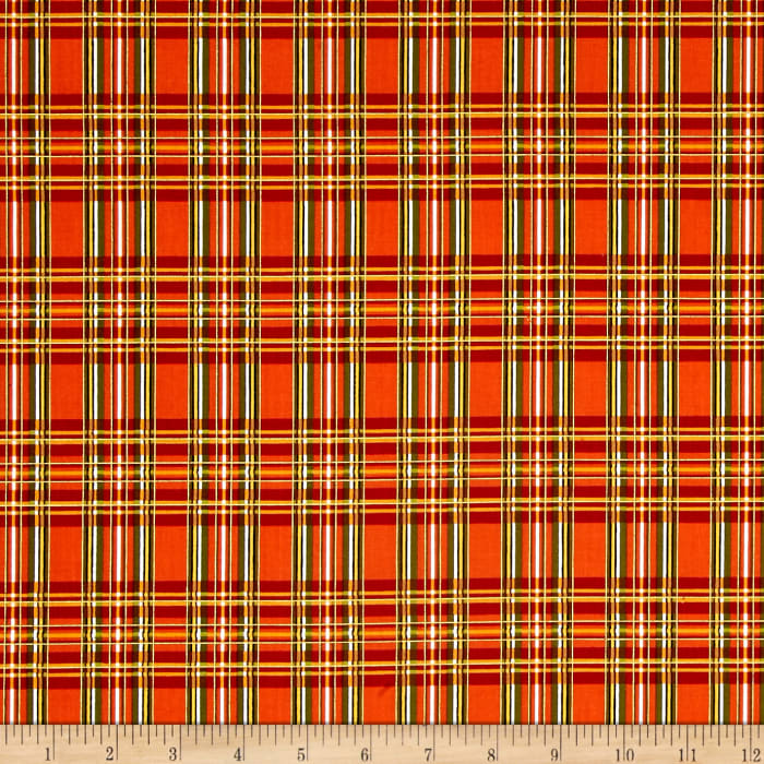 Timeless Treasures Holiday Plaids Metallic Plaid Orange