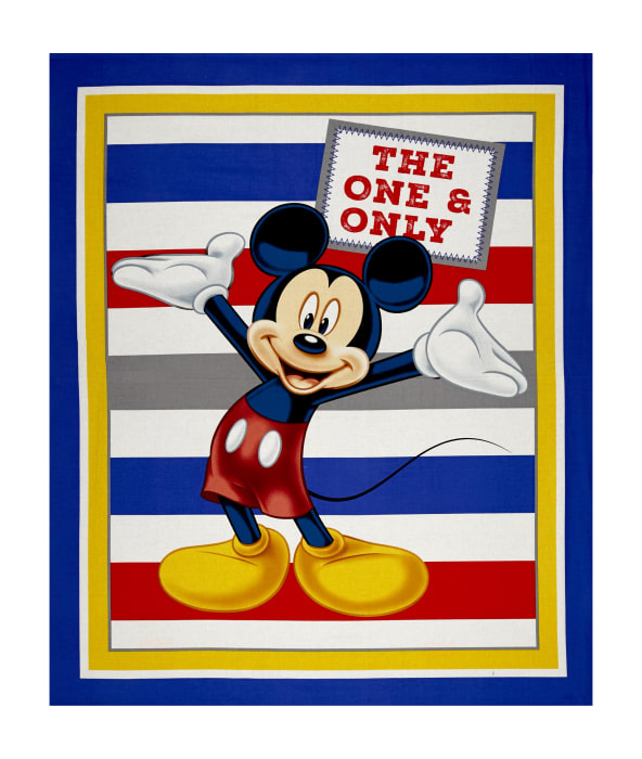 """Disney Mickey Traditional Mickey with Stripes 36"""" Panel Blue"""