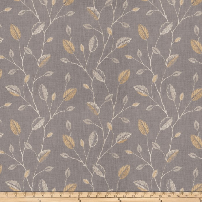 Fabricut Wing Leaves Embroidered Goldenrod