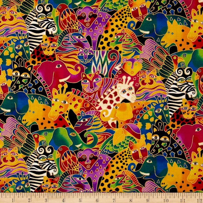 Laurel Burch Mythical Jungle Metallic Animal Collage Multi Bright