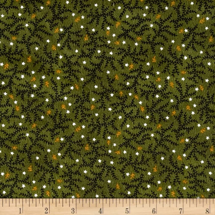 Kim Diehl Winter Cheer Flannel Branches And Stars Green
