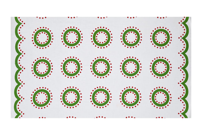 """Green and Red Wreaths 36"""" Panel Bright"""