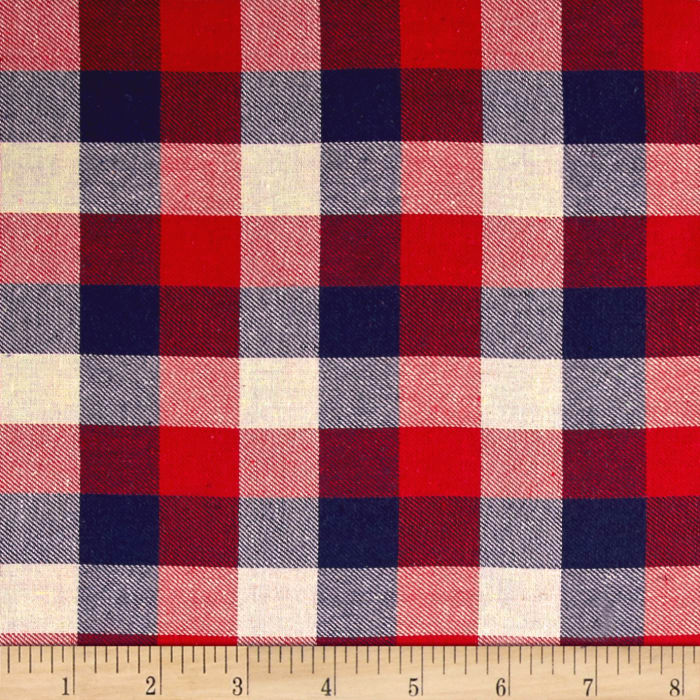 Yarn Dyed Flannel Large Checker Plaid Red/Navy/Beige