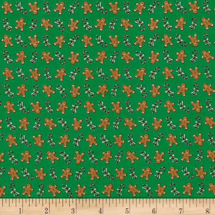 Moda Sugar Plum Christmas Gingerbread Boys Icing Green
