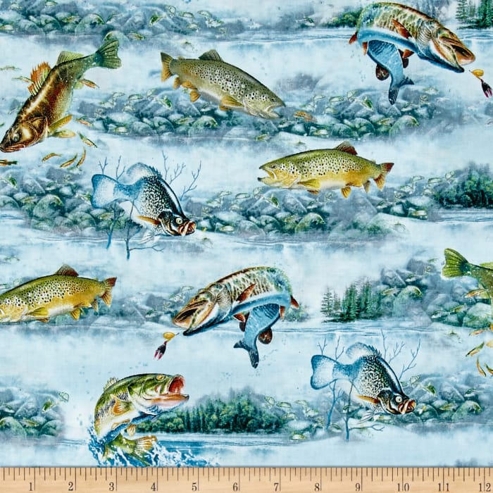 Quilting Treasures So Many Fish So Little Time Fish Scenic Light Blue