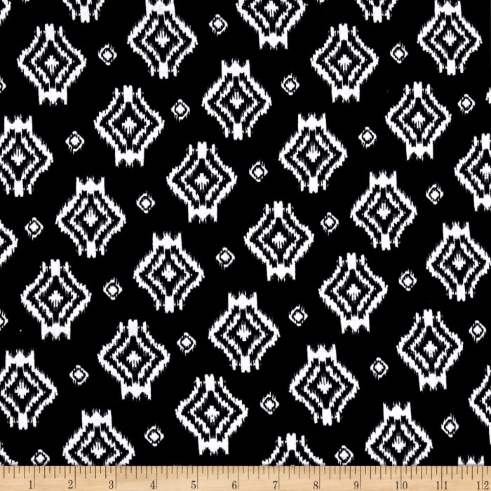 Rihan Jersey Knit Ivory Abstract Assorted Diamonds  on Black