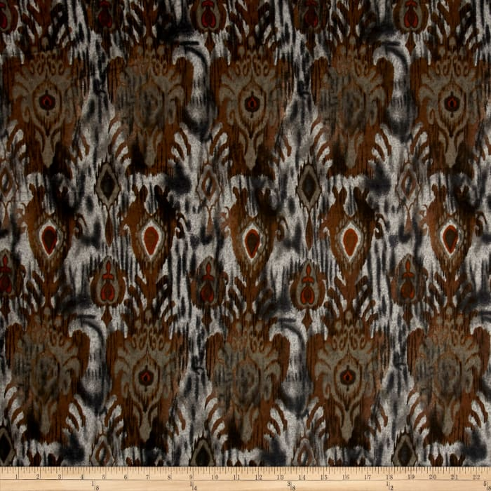 Brushed Hatchi Sweater Knit Whimsical Ikat Brown/Gray