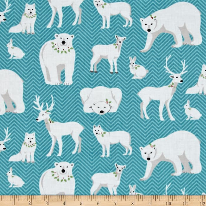 Contempo Nordic Holiday White Animals Teal