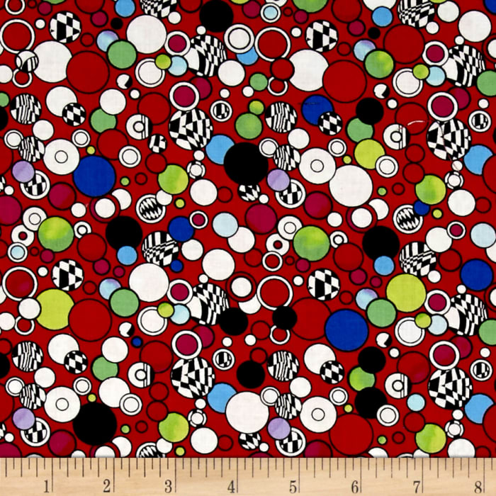 Contempo Anything Goes Abstract Circles Red