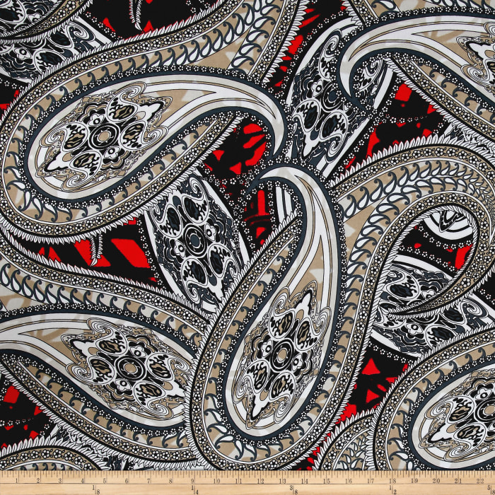 ITY Stretch Jersey Knit Large Paisley Gray/White/Coral