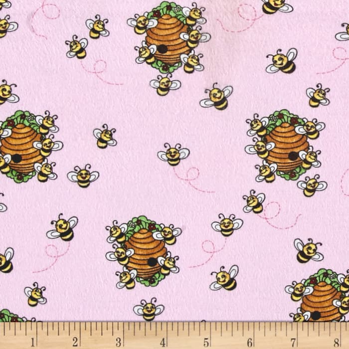 Comfy Flannel Beehives Pink