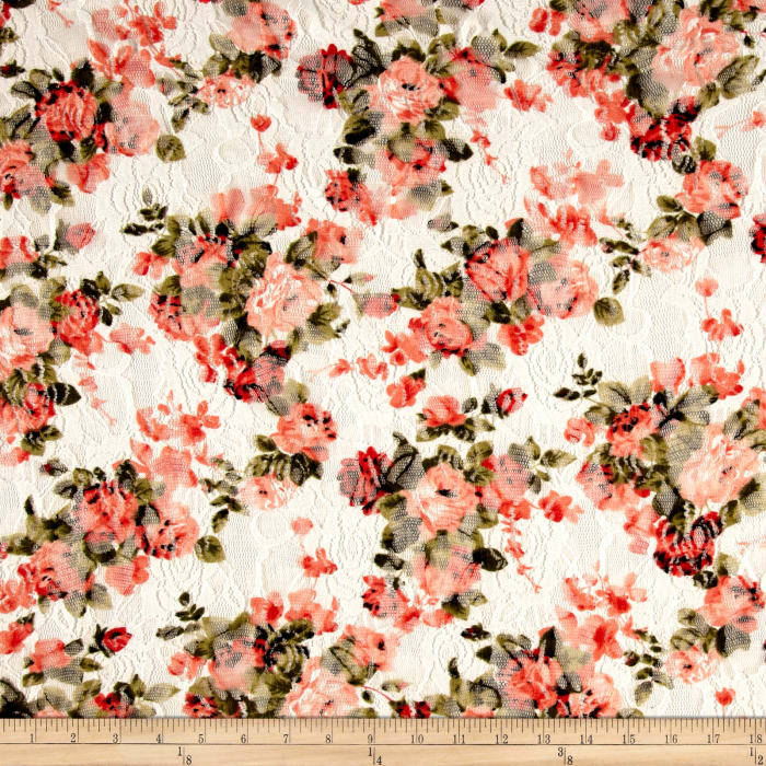Printed Stretch Lace Floral White/Coral/Green/Red