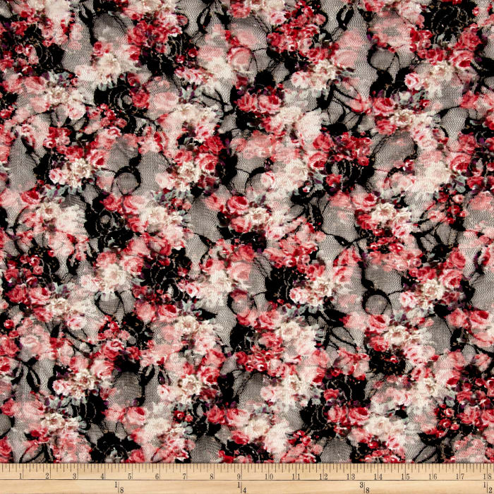 Printed Stretch Lace Floral Black/Coral/Pink/Green/White