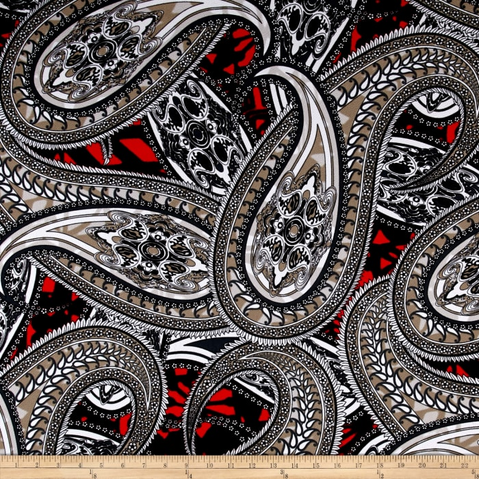 Liverpool Double Knit Paisley Black/White/Red/Gray
