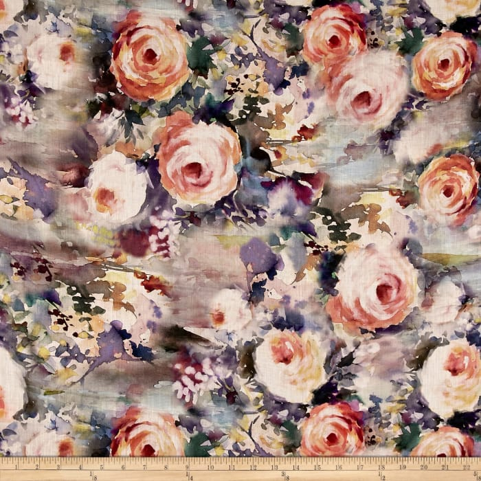 Telio Digital Printed Linen Watercolor Roses Pink/Purple/Multi