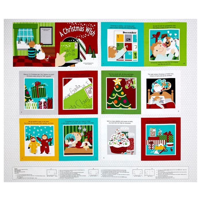"""Sarah Frederking A Christmas Wish 35"""" Book Panel Red"""