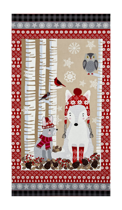 """Natalie Alex Snow Delightful 24"""" Panel With Winter Animals Gray/Red"""