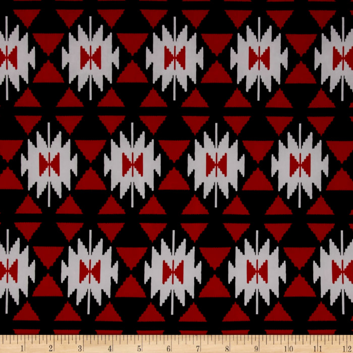 ITY Stretch Jersey Knit Aztec Ikat Print Red/White/Black