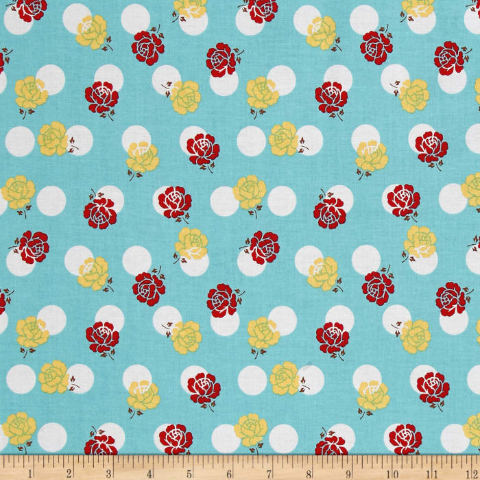Riley Blake Sew Cherry 2 Rose Aqua
