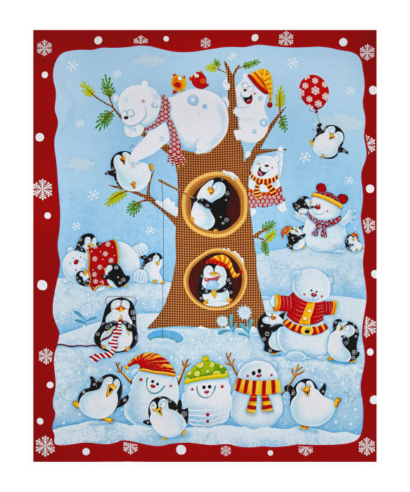 "Penguin Parade Penguin 34"" Panel Multi"