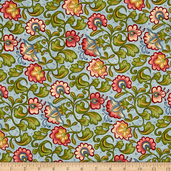 Moda Cowgirl Country Tooled Floral Sky Blue
