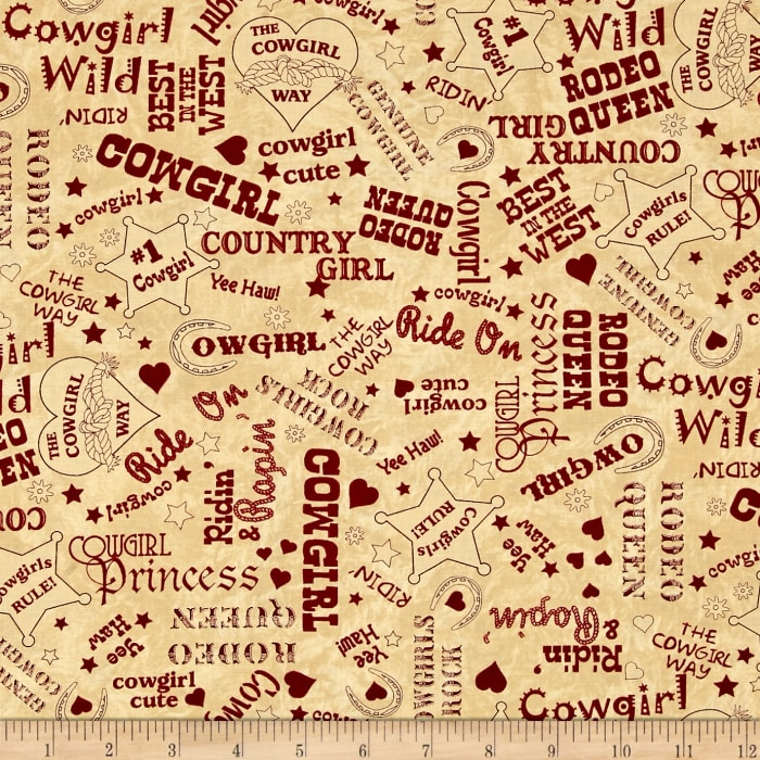 Moda Cowgirl Country Cowgirl Text Suede-Red