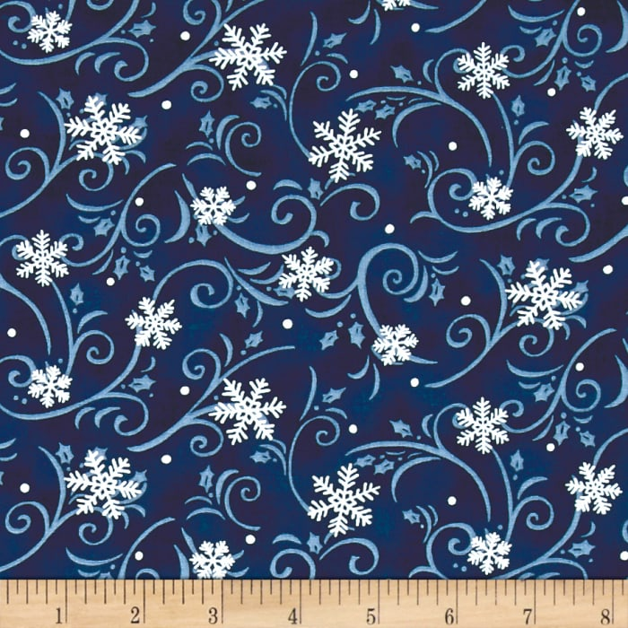 Snow Much Fun Swirling Snowflakes Midnight Blue