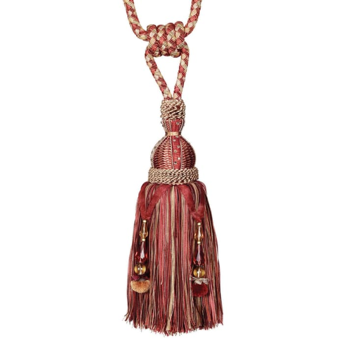 "Fabricut 33"" Shane Single Tassel Tieback Curry"