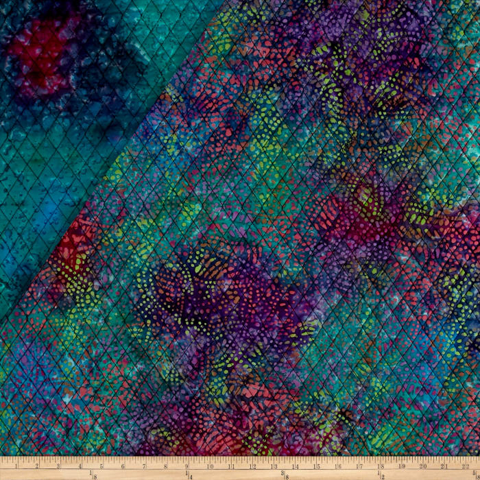 Double Face Quilted Indian Batik Leaf Dots Purple/Fuchsia/Teal
